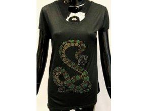 Dámské lehké triko Brave Soul, černé s hadem