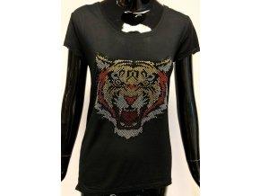 Dámské lehké triko Brave Soul, černé s tygrem