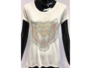 Dámské lehké triko Brave Soul, bílé s tygrem