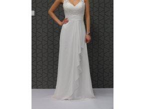 Svatební šaty na ramínkách, záda na zip 36