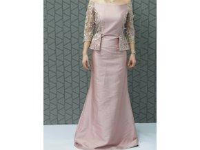 Společenské šaty růžové s rukávy, velikost 40