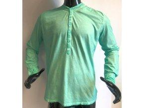 Pánské triko s dlouhým rukávem a  výstřihem, zelené