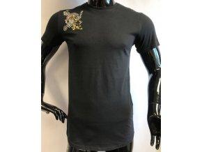 Pánské prodloužené triko Cynical s nášivkou, černé