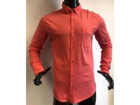 Pánská bavlněná neformální košile La Compagnie du lin, červená