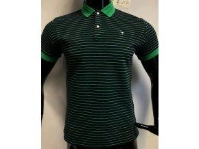 Pánské pruhované triko s límečkem Carnet de vol, zelené