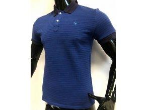 Pánské pruhované triko s límečkem Carnet de vol, modré