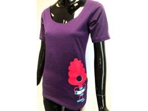 Dámské triko ATZ krátký rukáv, fialové s motivem