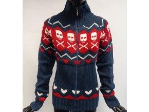 Pletený svetr na zip MO, lebky
