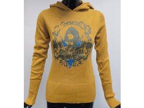 Dámský svetr s kapucí MO, hořčicový