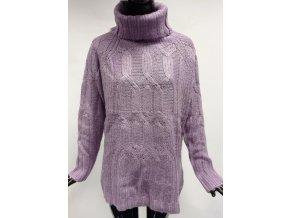 Dámský teplý svetr s rolákem Usha, fialový