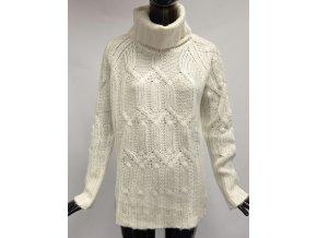 Dámský teplý svetr s rolákem Usha, bílý