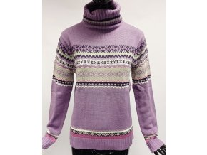Pletený svetr s rolákem Usha, fialový