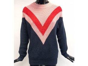 Dámský pletený svetr Sweewë (37369) modro růžový