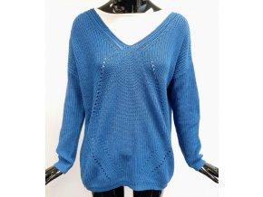 Dámský pletený svetr La petite ét ile, modrý