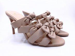 Dámské pantofle na podpatku Carine Paris, béžové