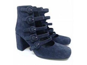 Semišové páskové boty na podpatku Bruno Premi, modré