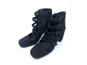 Semišové páskové boty na podpatku Bruno Premi, černé