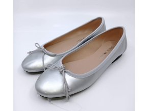 Lakované baleríny Marco Tozzi, stříbrné
