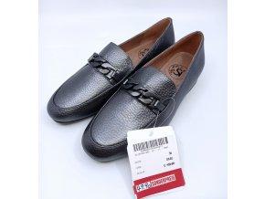 Dámské kožené boty s páskem Sí, stříbrné
