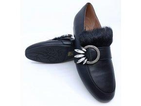Dámské kožené boty s přezkou Sí, černé