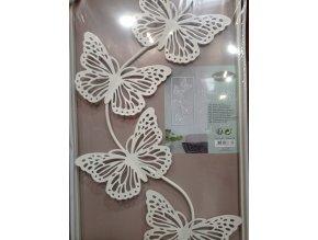 Kovová nástěnná dekorace, motýli, 56x27 cm