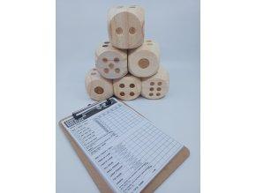 Big Dice Game, velké dřevěné kostky s tabulí