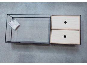 Designová nástěnná police s 2 šuplíky, 58x11x23 cm
