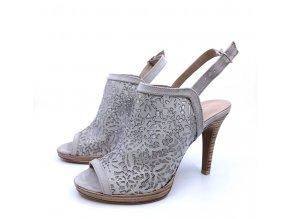 Dámské letní boty na podpatku, šedé