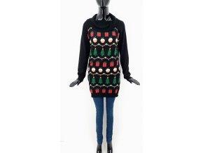 Svetrové šaty s vánočním motivem, černé