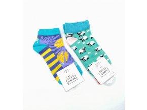 Barevné bavlněné ponožky s motivy - vel. 35-40