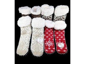 Antonio ponožkové bačkory s beránkem a ABS - vel. 35-38, vánoční