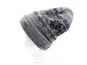 Antonio pletená čepice s podšívkou, šedý melír