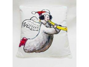 Vánoční polštářek s obrázkem 45x45 cm, různé barvy