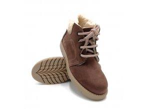 Dětská zimní obuv DINGO, kůže - hnědá
