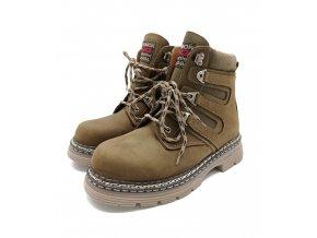 Zimní kotníková obuv Nagaba, kůže - khaki