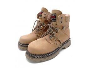 Zimní kotníková obuv Nagaba, kůže - béžová