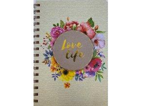 Luxusní blok A5 tvrdé desky Love Life