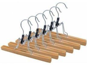 6er Set Hosenbügel aus hochwertigen HolzHosenspanner für Anzughosen
