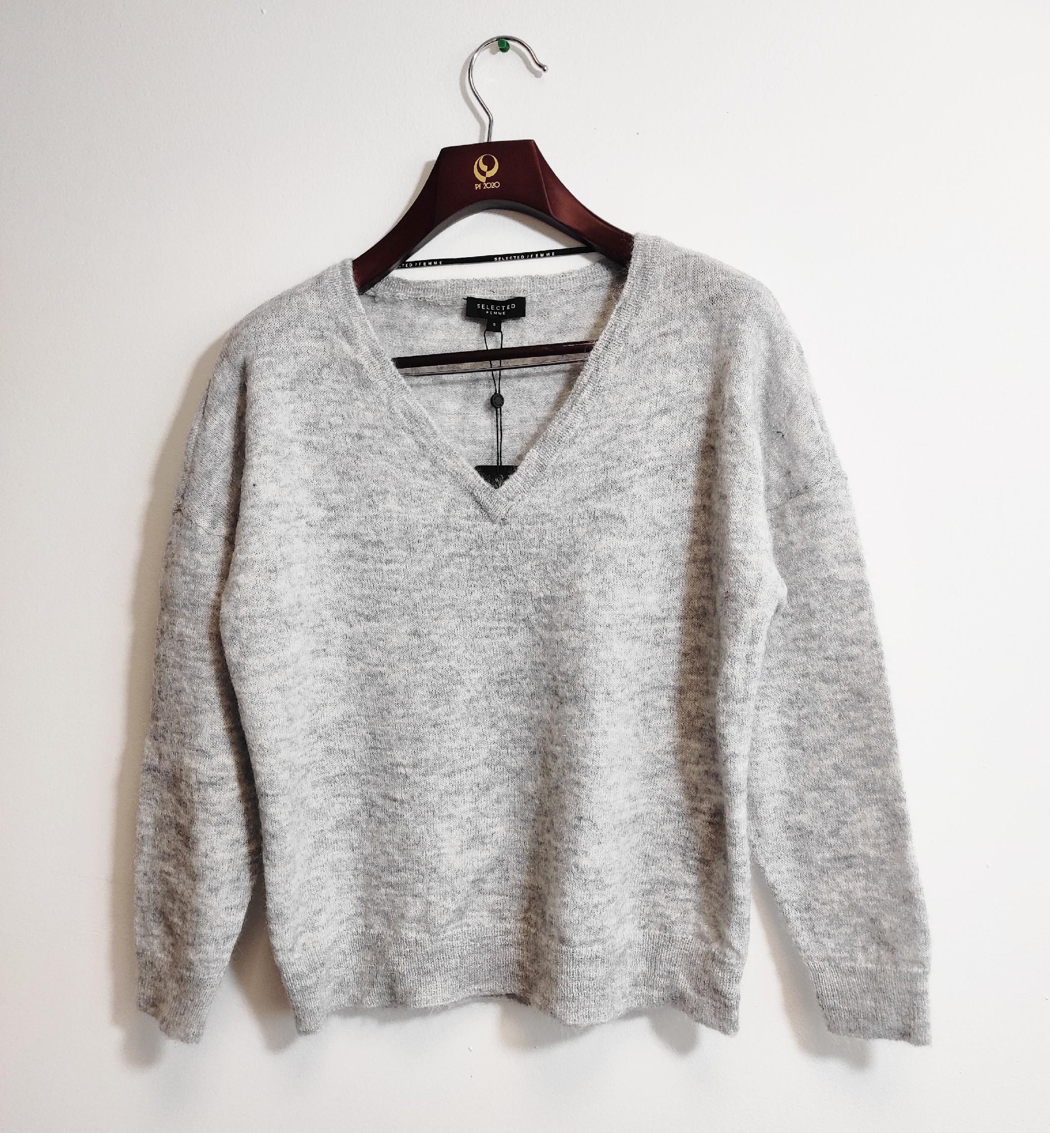 Dámský vlněný svetr přes hlavu Selected, šedý melír Velikost: XS