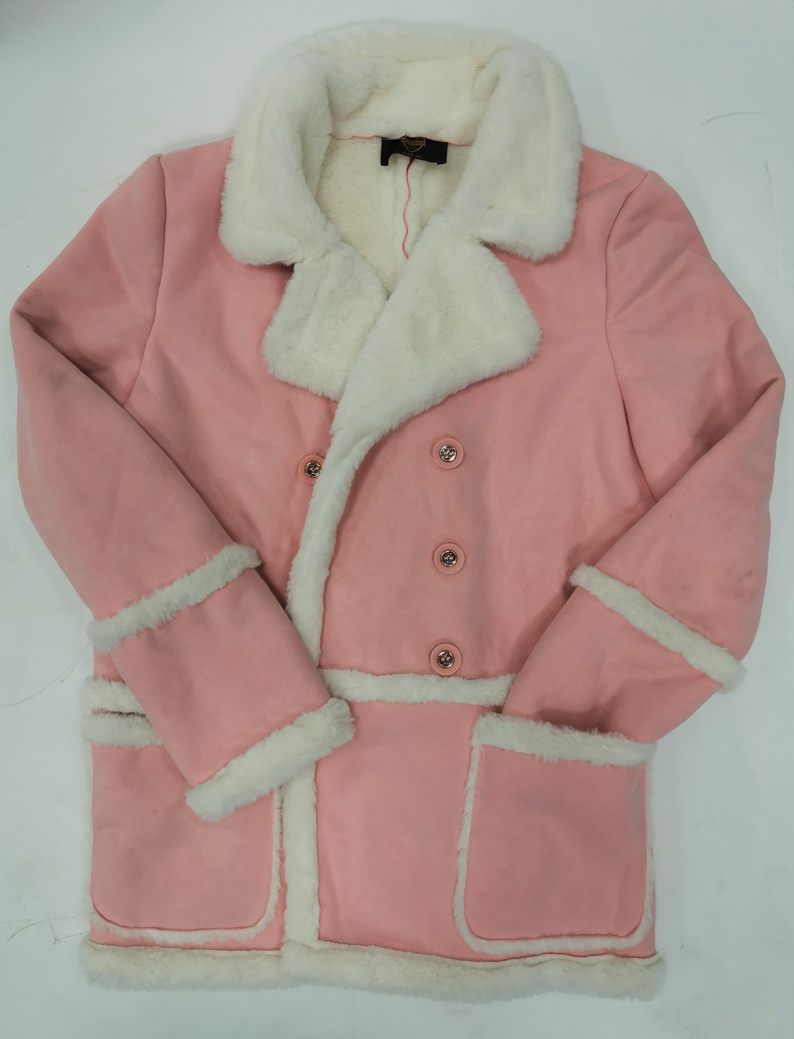 Dámský zimní kabát s kožíškem Taylouncy růžový Velikost: 38