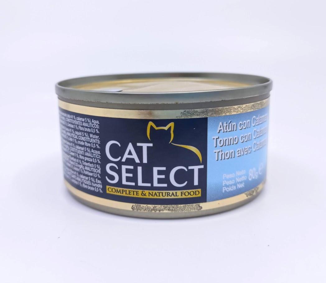CAT SELECT konzerva pro kočky tuňák s kalamáry 80g