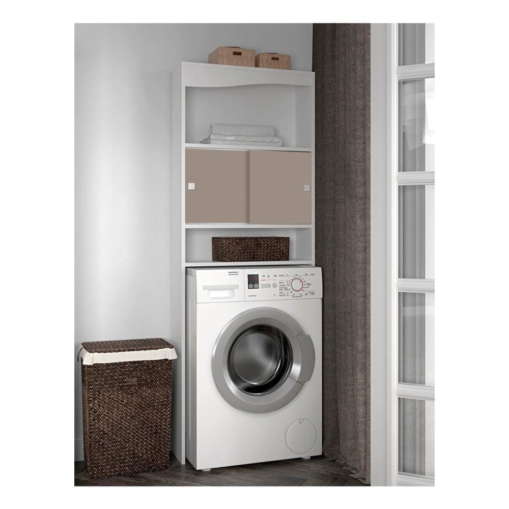 Šedohnědá koupelnová skříňka nad pračku Symbiosis Wave, šířka 60 cm