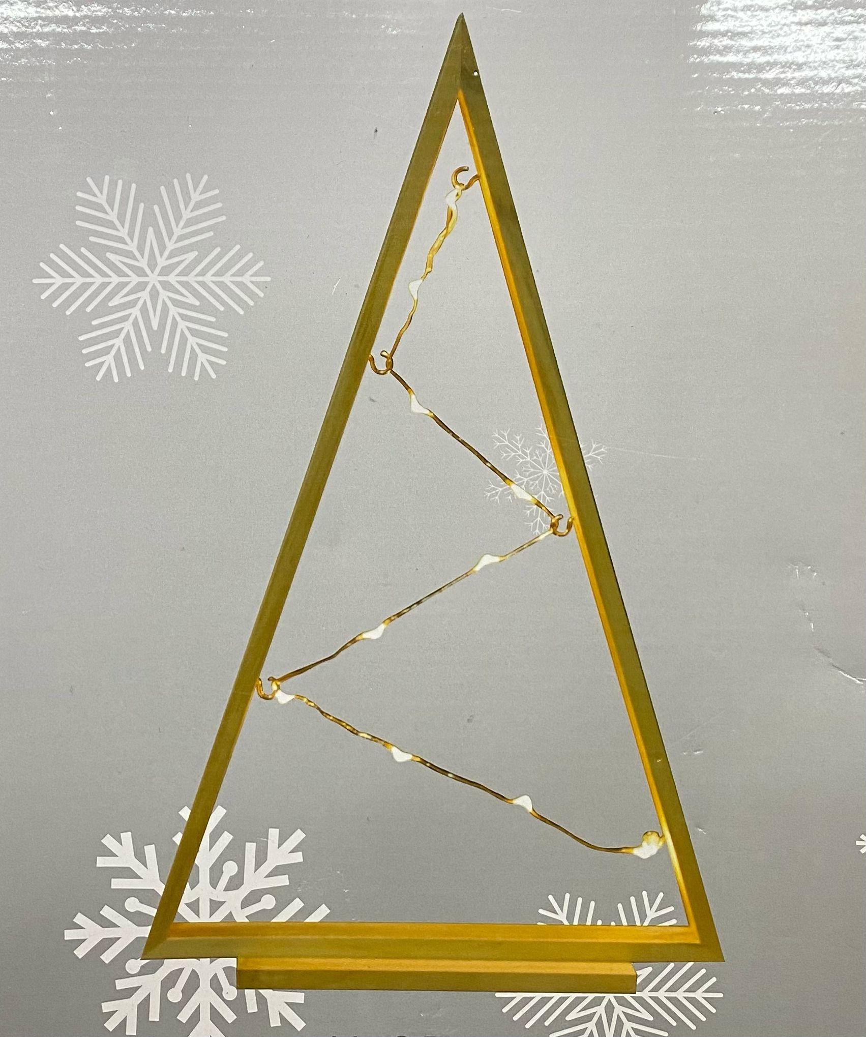LED dřevěný vánoční stromeček, 35cm, hnědý