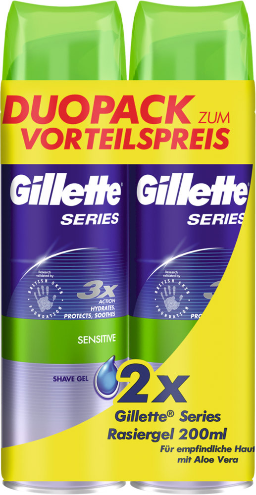 Gillette Gel na holení Sensitive Duopack 2x200 ml Aloe Vera