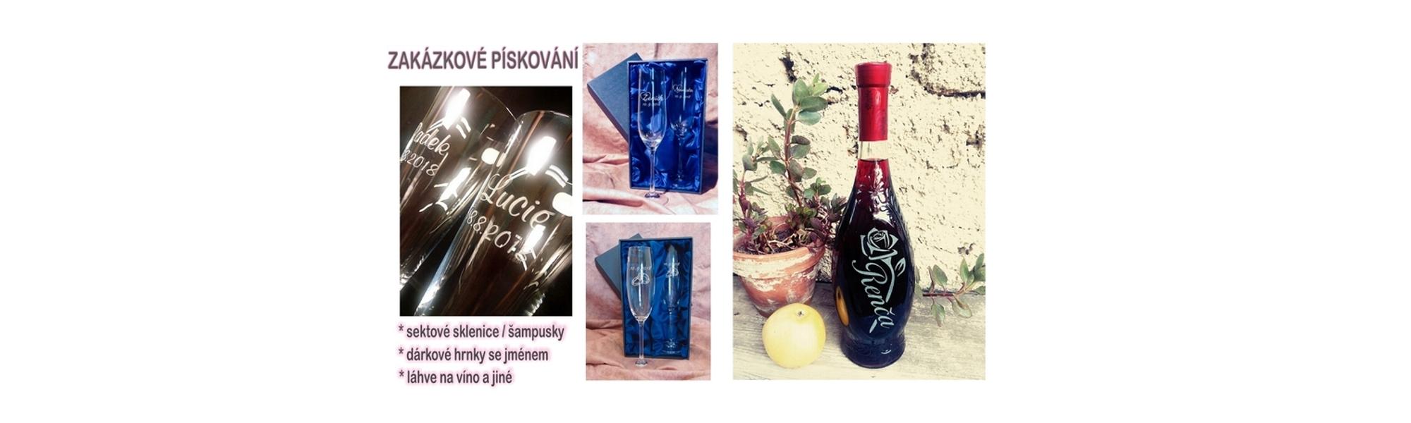 Pískování na přání, sklenice, šampusky, láhve na víno a jiné