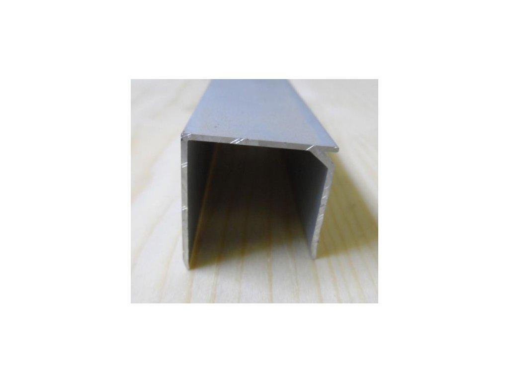 """Al """"U"""" profil se zobáčkem,tloušťka 25mm,stříbrný elox s krycí folií,6,3 m"""