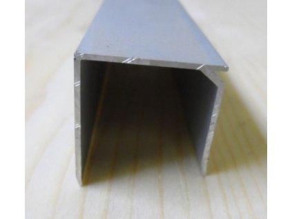 """Al """"U"""" profil se zobáčkem,tloušťka 25mm,stříbrný elox s krycí folií,6,4 m"""