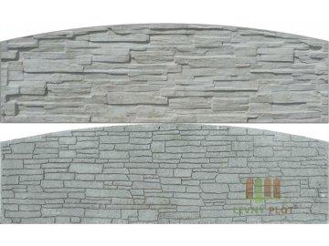 Betonový panel oblouk velký oboustranný štípaný kámen 200 x 50-66 x 4,5 cm - přírodní