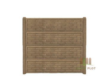Betonový panel rovný oboustranný cihla ostrá 200 x 50 x 4,5 cm - pískovec