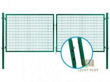 Ideal brána SOLID š. 3626 mm x v.  dle výběru, s oky na visací zámek, zelená (Výška v mm: 1950 mm)